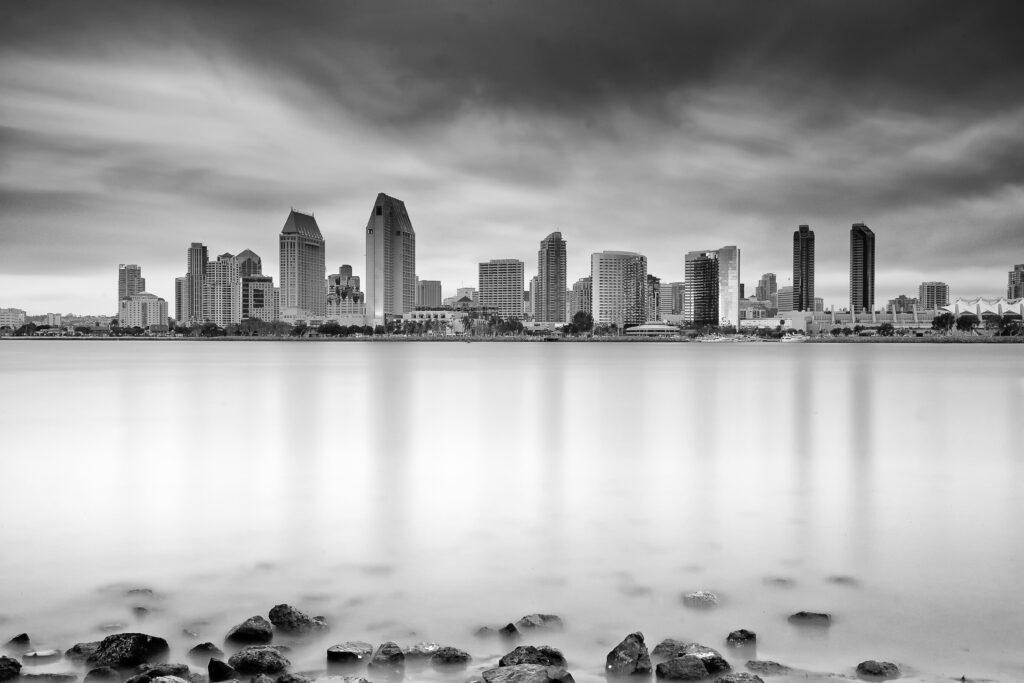 san diego skyline (black & white) | Coronado Times