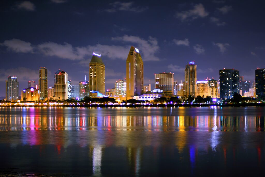 San Diego Skyline At Midnight