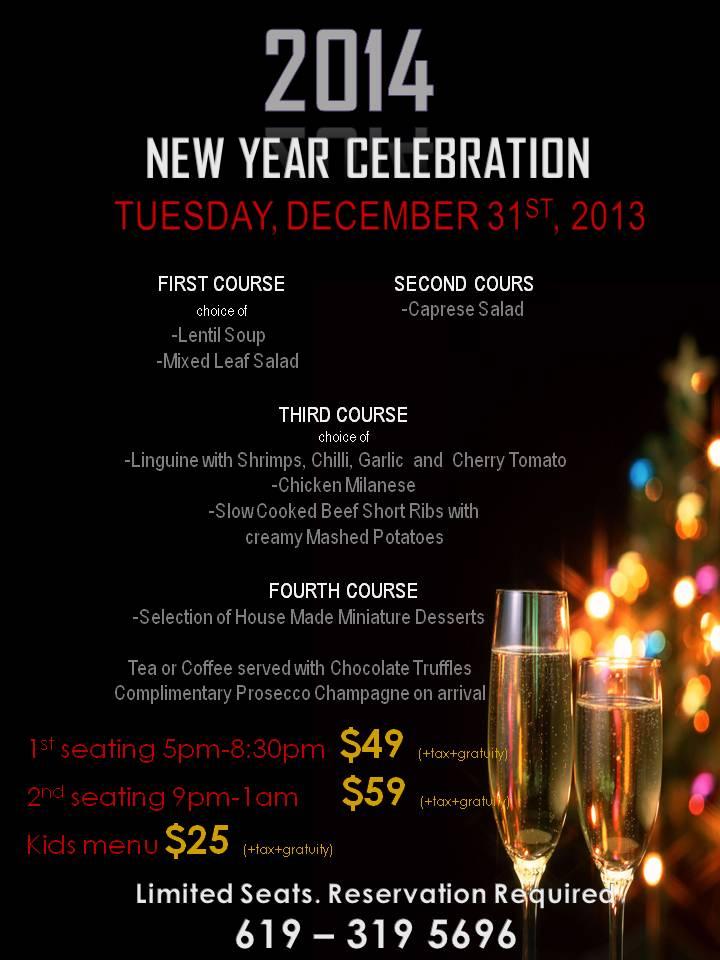 New Year Celebration at SAPORI Italian Restaurant ...