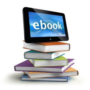 stacked books with a tablet on top ebooks