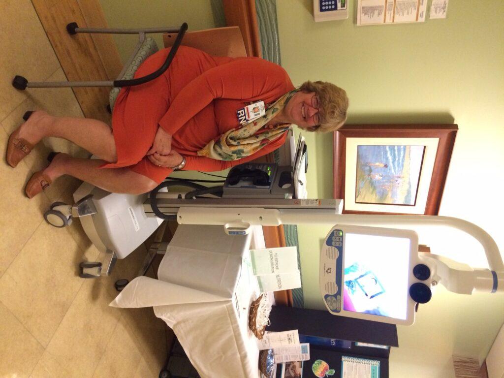 Sharp RN Pam A. demonstrated the benefits of Sharp Coronado's new stroke machine.