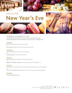 Mistral New Year's Eve Menu