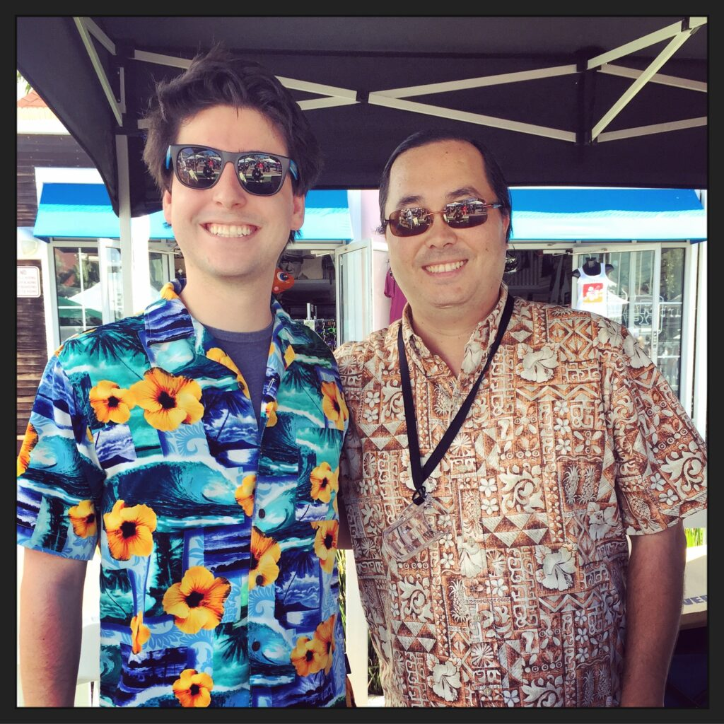 Mayor Tanaka poses with Coronado resident Dan Halloran at the Beer By the Bay presented by the Islander Ladies Club on October 10, 2015, where participants wore Hawaiian shirts in honor of the Mayor, whose shirts were made light of by comedian James Corden on the Late Late Show on CBS.