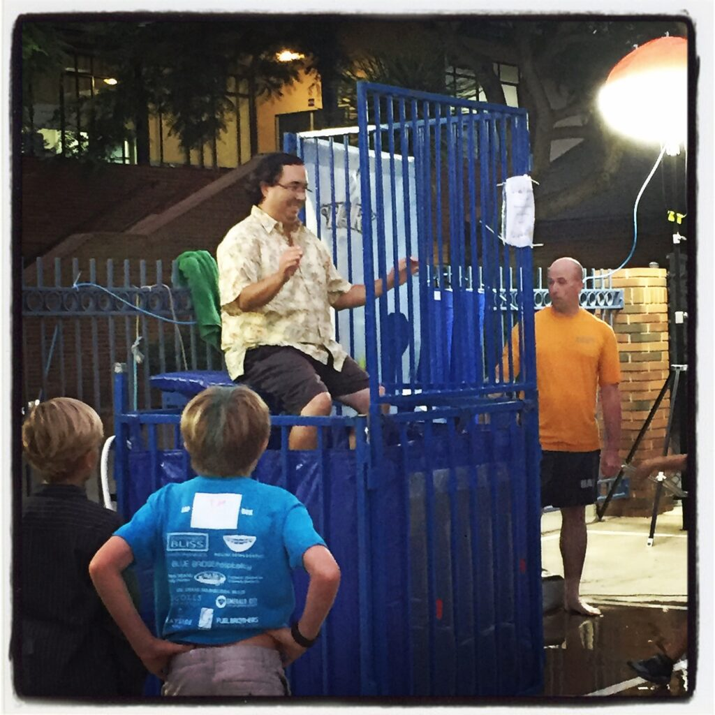 At Village Elementary School's Fall Festival in October, Mayor Tanaka volunteered to participate in the dunk tank.