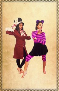 Isabella Chavez as the Mad Hatter and Shelby Mayes as the Chesire Cat