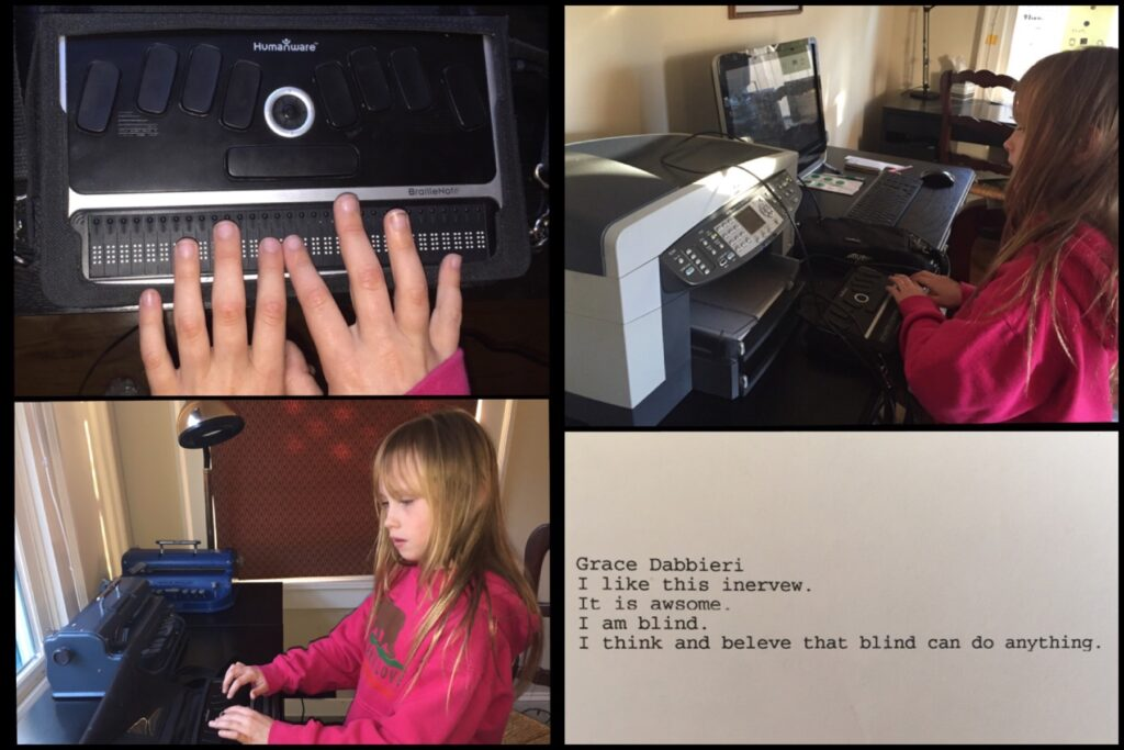 Grace demonstrated how she uses her Braille Notetaker, and connected it all by herself to the computer to print out what she wrote.