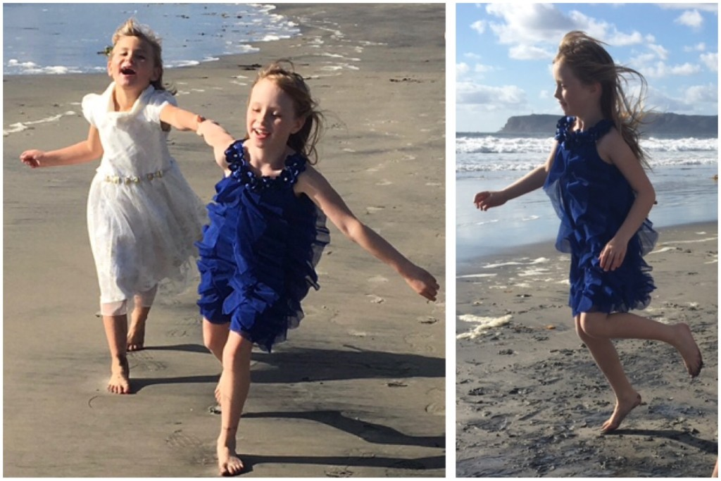 Grace, with her sister Hope, loves many of the same activities her peers enjoy, including going to the beach. (Photo courtesy of Julie Dabbieri)