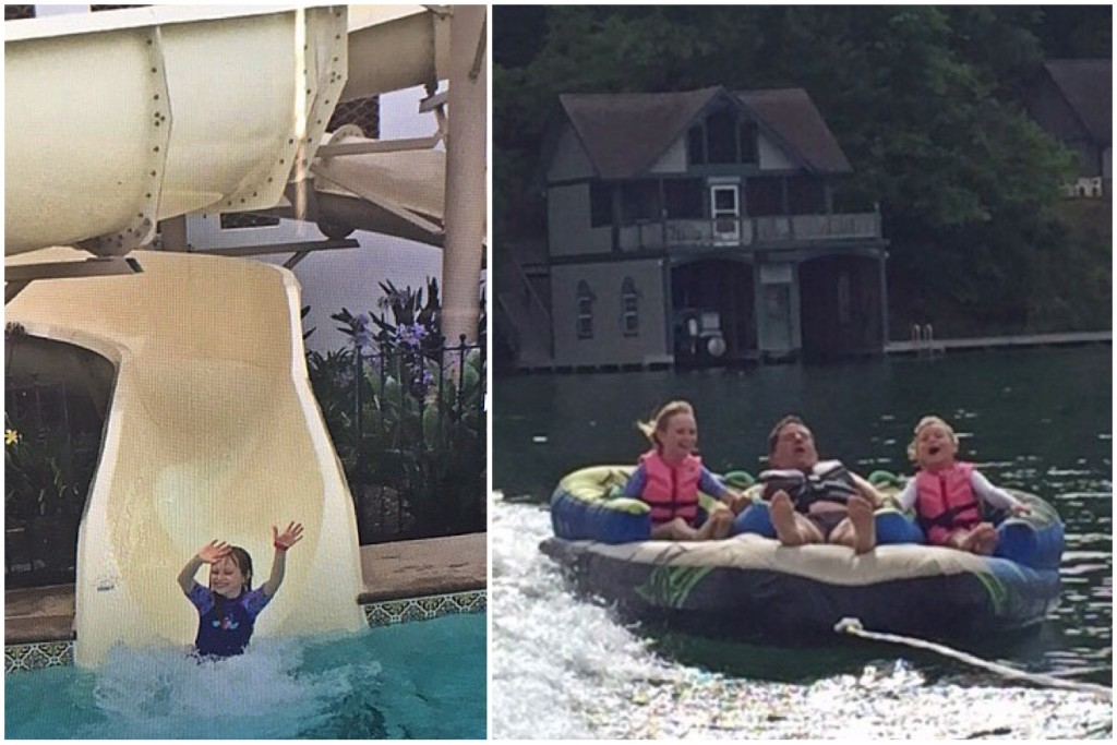 Left: Grace at La Costa Spa and Resort. Right: Grace with her father and sister in Georgia at Lake Burton in July. (Photos courtesy of Julie Dabbieri)