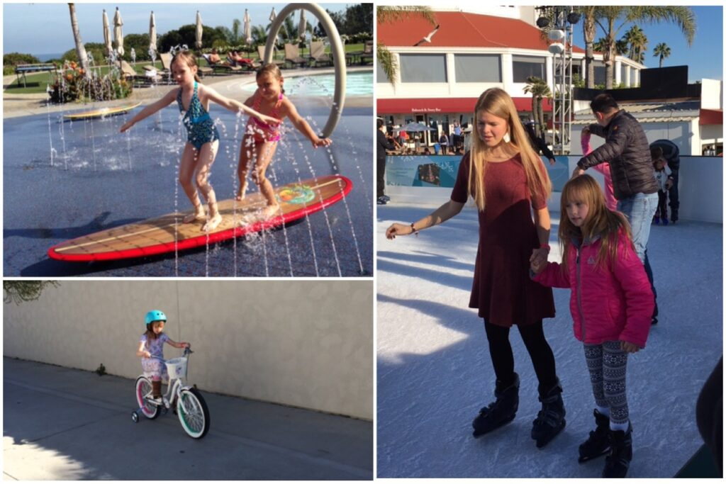 (Photos courtesy of Julie Dabbieri) Bottom left clockwise: Grace riding her bike on Christmas morning, with her sister Hope at Dana Point Marriott, and ice skating at the Hotel Del Coronado with family friend Allison Vincent.