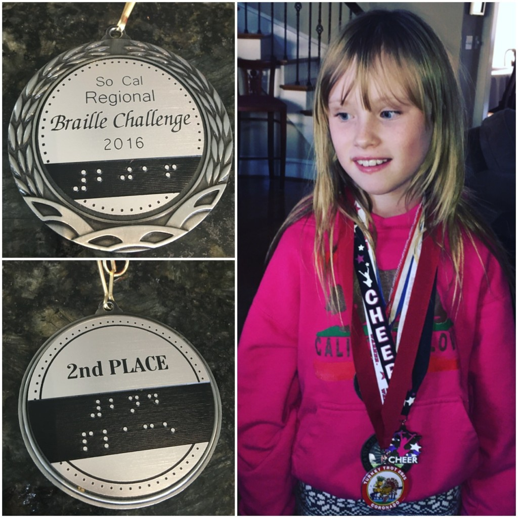 On Saturday, January 30, 2016, Grace participated in the Southern California Braille Challenge, winning second place. Grace is proud of the medals she's earned in various competitions and activities. (Photos courtesy of Julie Dabbieri)