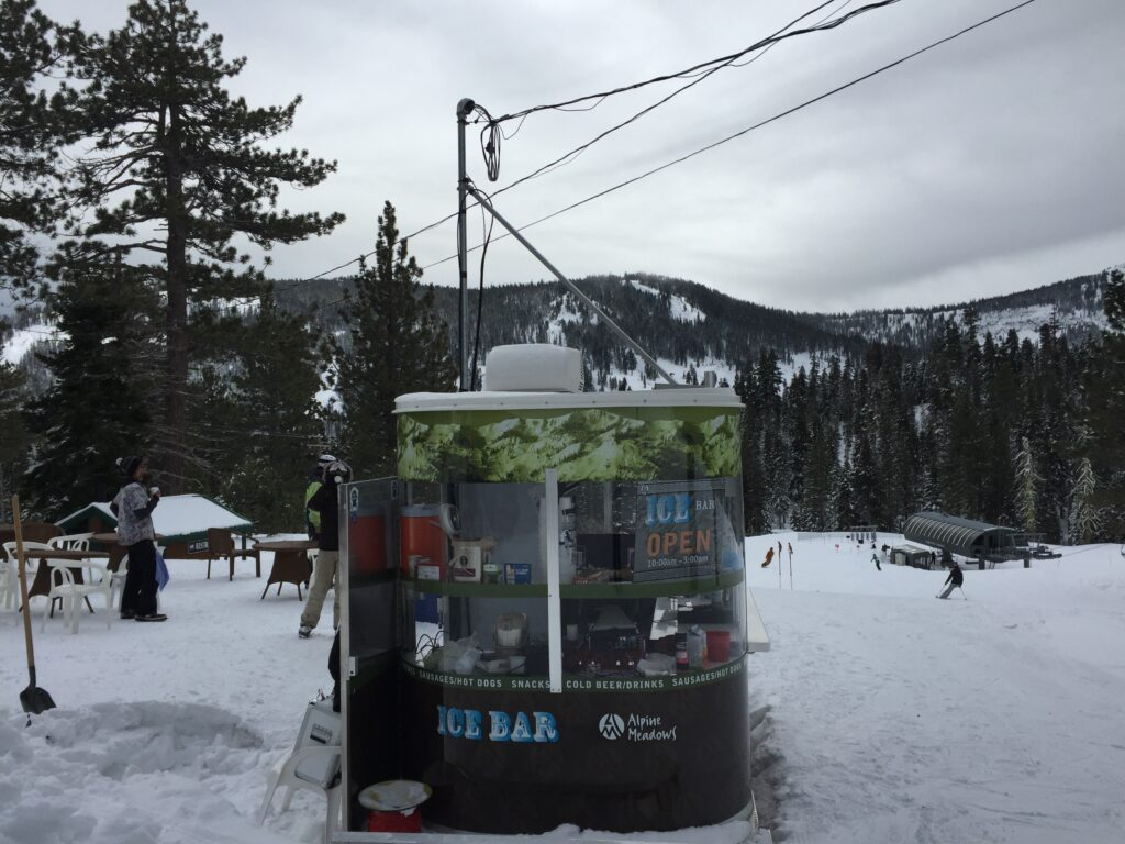 """The """"Ice Bar"""" at Alpine Meadows. It's cozy and a great place to get fueled up for a few more runs."""