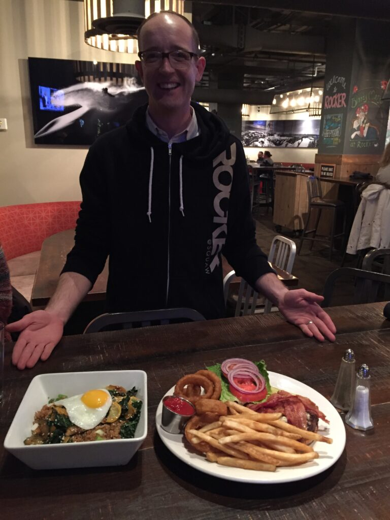 James Dent, General Manager, delivers dinner to our table.