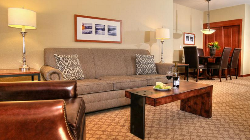 We had a single bedroom that also included a separate living room with pull-out couch (to sleep two more). Our room had a balcony, fireplace, dining table and full kitchen. (Photo courtesy of the Village at Squaw Valley )