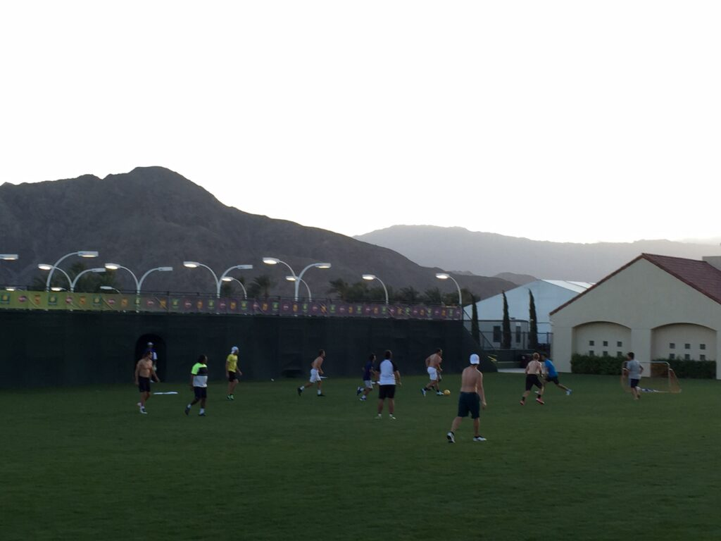 Many players like to blow off steam, while keeping in shape, playing on the soccer field adjacent to the courts.