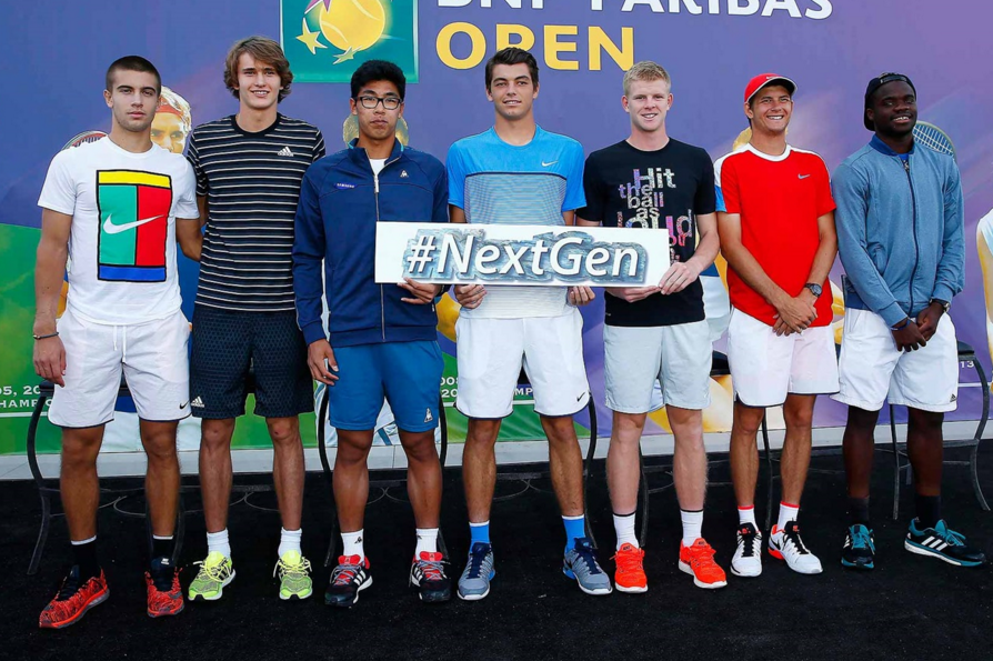 Borna Coric, Alexander Zverev, Hyeon Chung, Taylor Fritz, Kyle Edmund, Jared Donaldson and Frances Tiafoe are presented as the ATP's Next Generation stars on Tuesday.