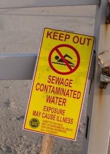 sewage contaminated water sign