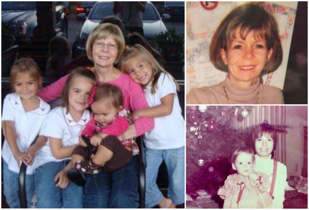 Left: Hilary Ruiz's mother with Ruiz's four daughters. Top right: Ruiz's mother. Bottom Right: Ruiz with her mother when Ruiz was a child.
