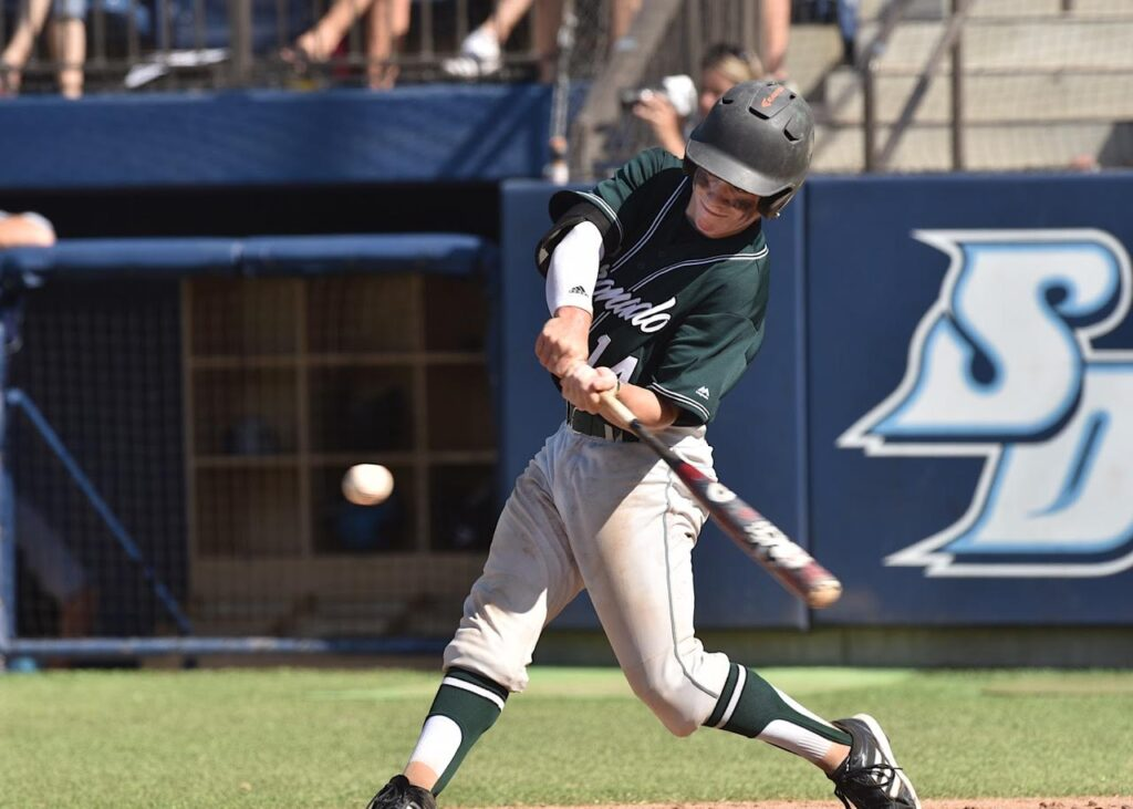 Sophomore Briley Knight went 2 for 3 with 2 RBIs against Del Norte.  (Photo:  Joan Fahrenthold)