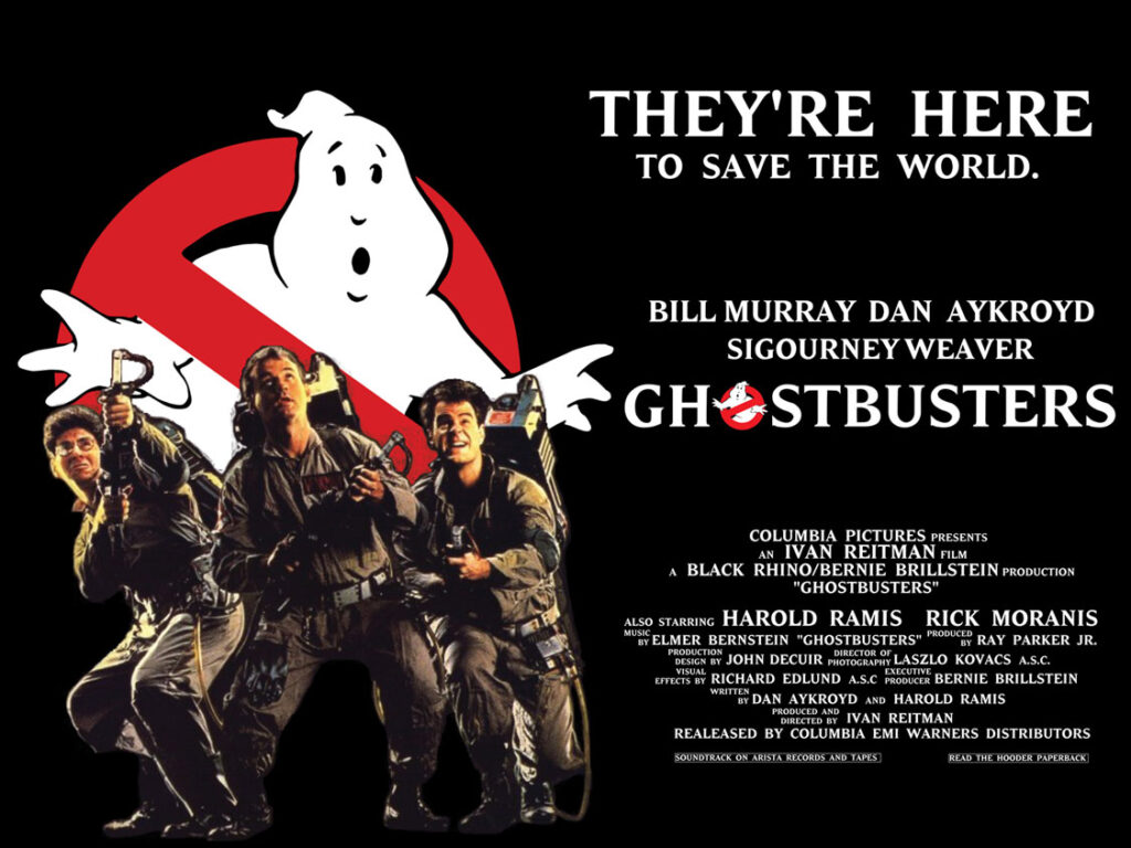 Harold Ramis, Bill Murray, and Dan Aykroyd starred in the 1984 release of Ghostbusters. (Courtesy of Google Images)