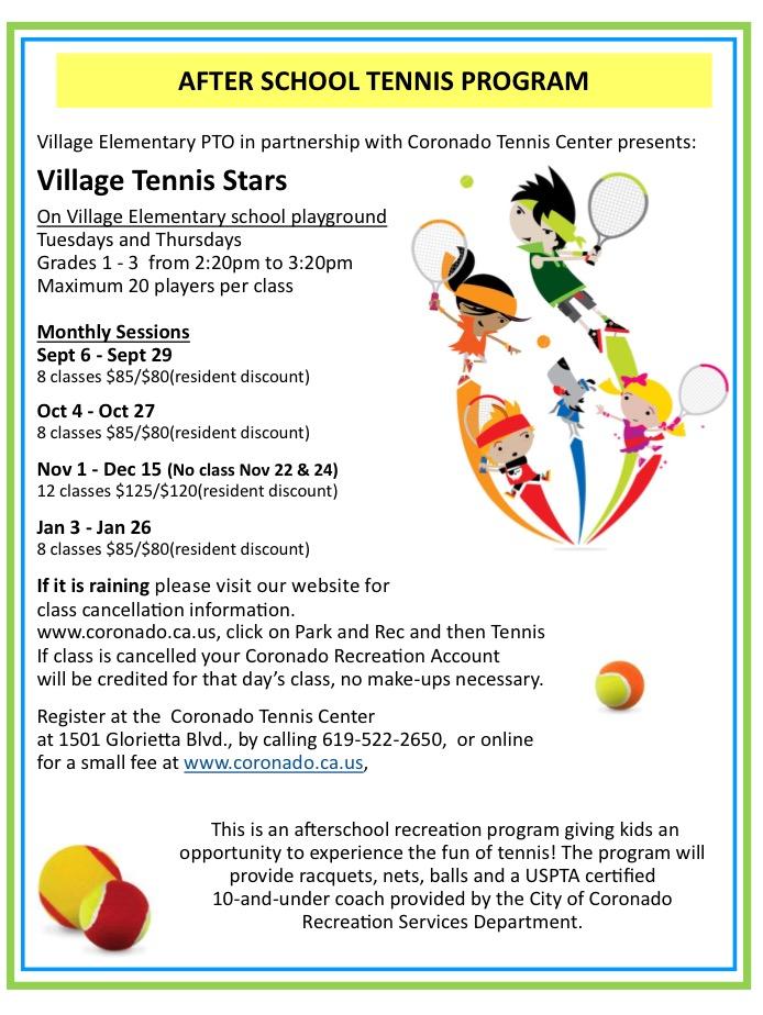After School Tennis Program at Village Elementary School | Coronado ...