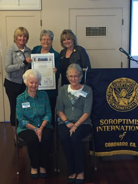"Peg Ford is honored as a Soroptimist International ""Legend"" in 2015. Standing with her are Coronado Soroptimist Co-Presidents, Tina Kane and Sandra Tredwell."