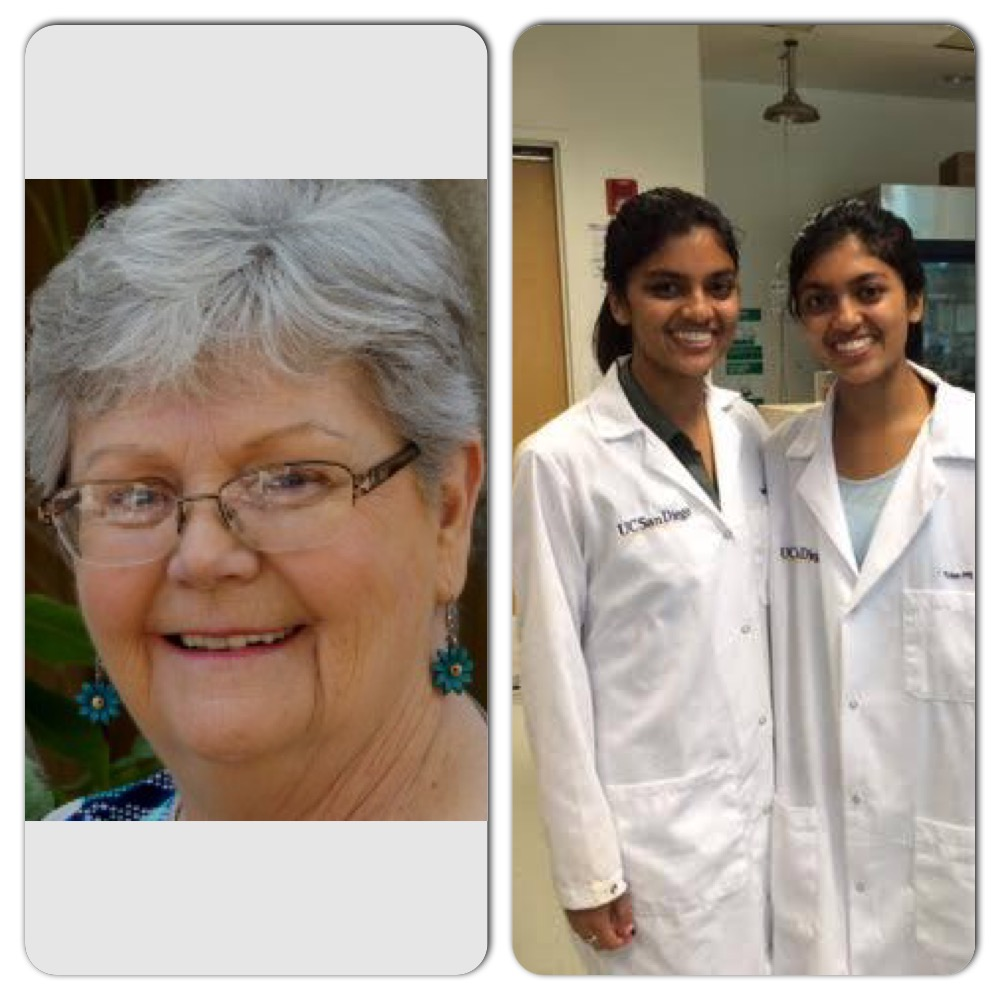 Impacted by ovarian cancer, Coronado resident Peg Ford, and high school students, Gitanjali and Priyanka work toward early detection; Ford through advocacy and the Priyanka twins through their UCSD lab.  All three women will be walking in this year's Teal Walk at Tideland's Park on Sept. 18.