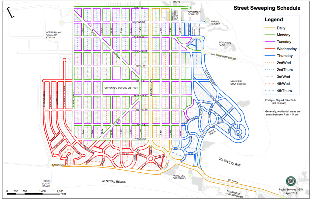 Coronado Street Sweeping Map and Schedule | Coronado Times on