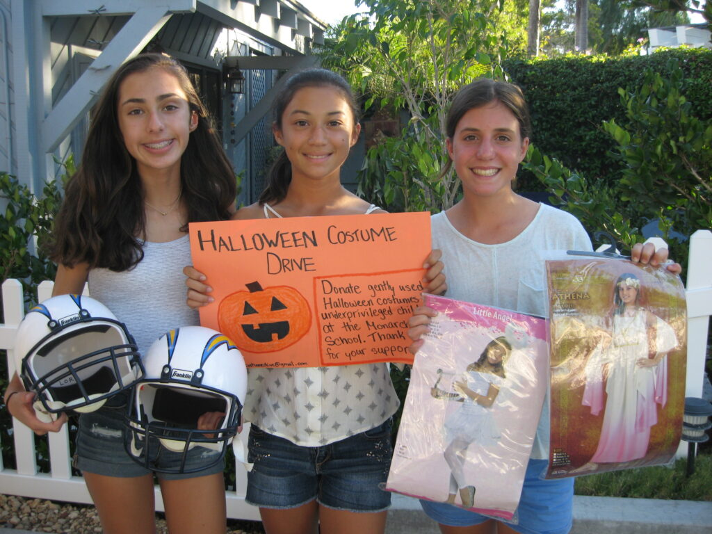 paloma ronis samantha lorr amelia hawley are collecting gently used halloween costumes for the