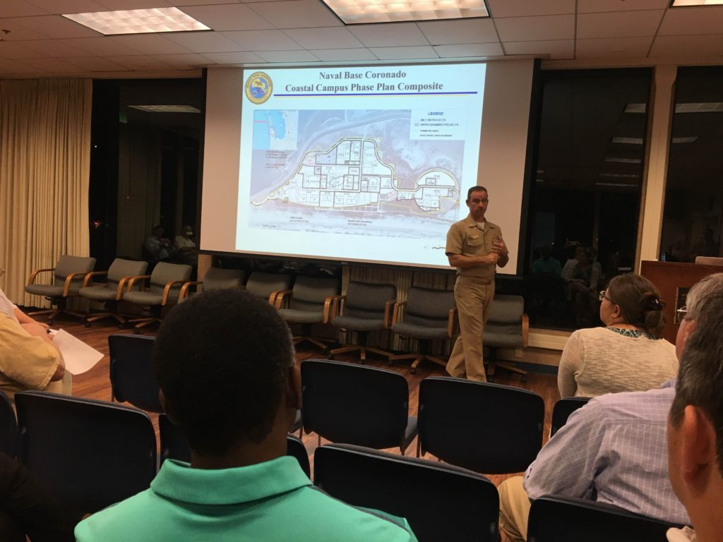 Captain Mulvehill explained a rendering of the Silver Strand Training Complex (AKA Coastal Campus)