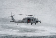 "Helicopter Sea Combat Squadron Four (HSC) 4, MH-60S Seahawk assigned to the ""Black Knights"""