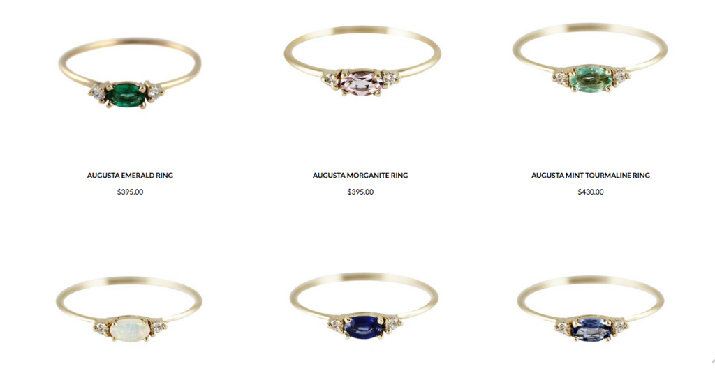 Petite Rings from the Augusta Collection
