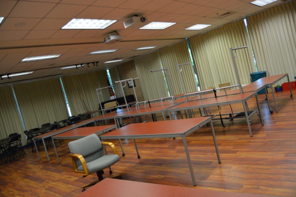 tables set up in winn room