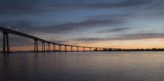 San Diego-Coronado Bay Bridge at sunset looking towards tidelands