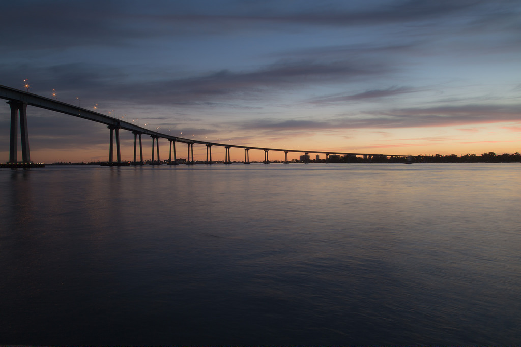 San Diego-Coronado Bay Bridge at sunset looking towards tidelands