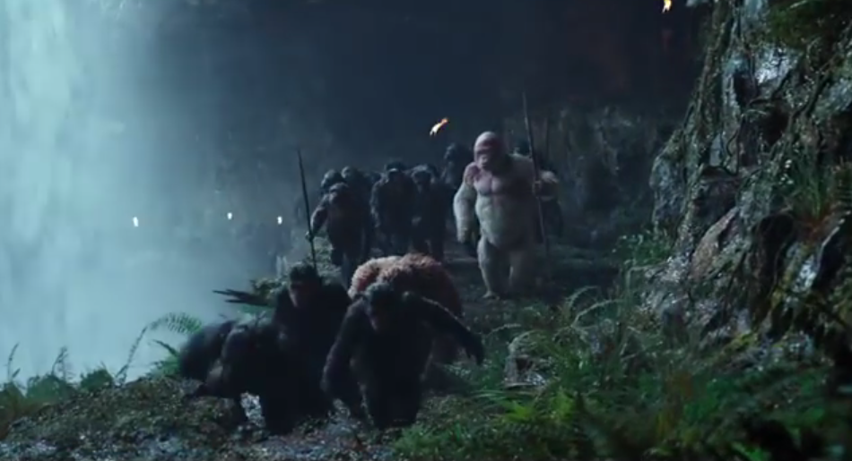 Apes Climb Past Waterfall in War Planet Apes