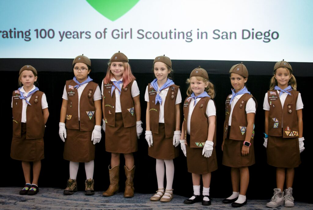 coronado girl scout troop 1 leads flag ceremony