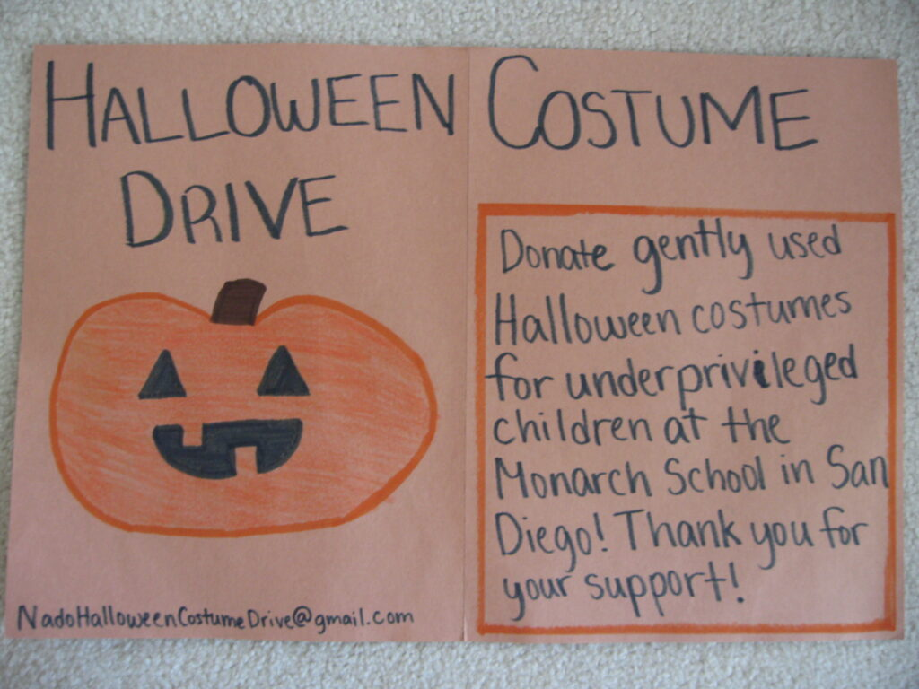 the collection drive began on tuesday october 10th and will end on friday november 10th this gives you the opportunity to give old costumes to the school