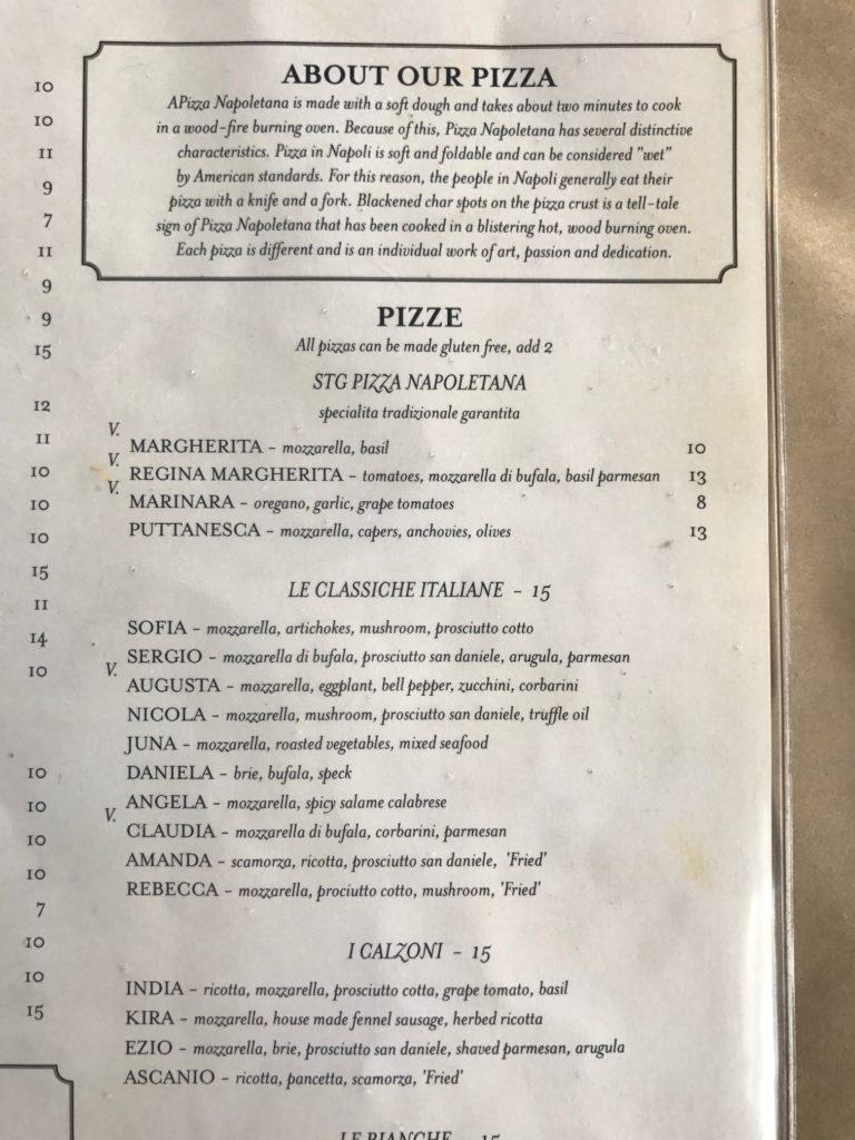 Buona Forchetta menu sample