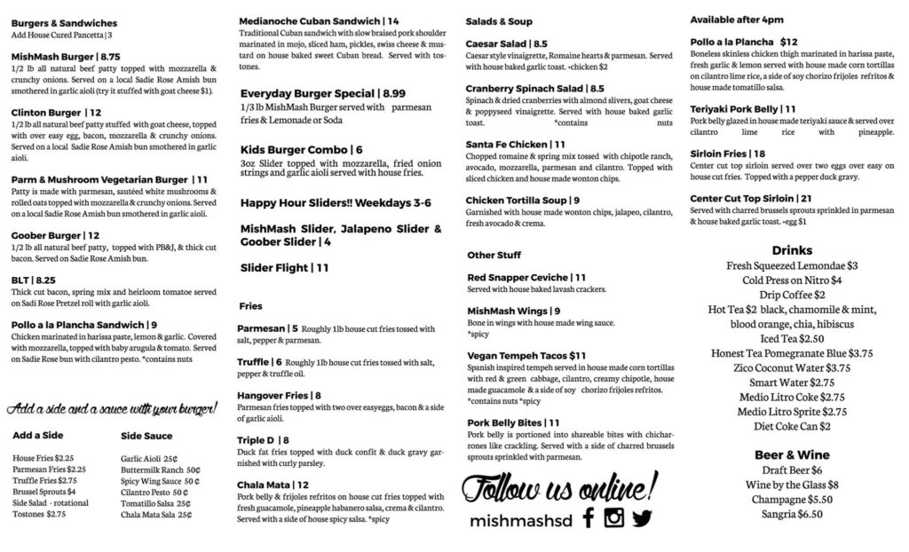 MishMash menu