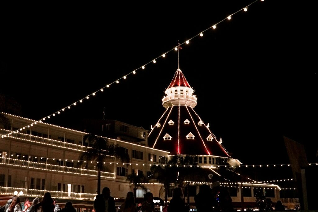 holiday lights at the Hotel del Coronado