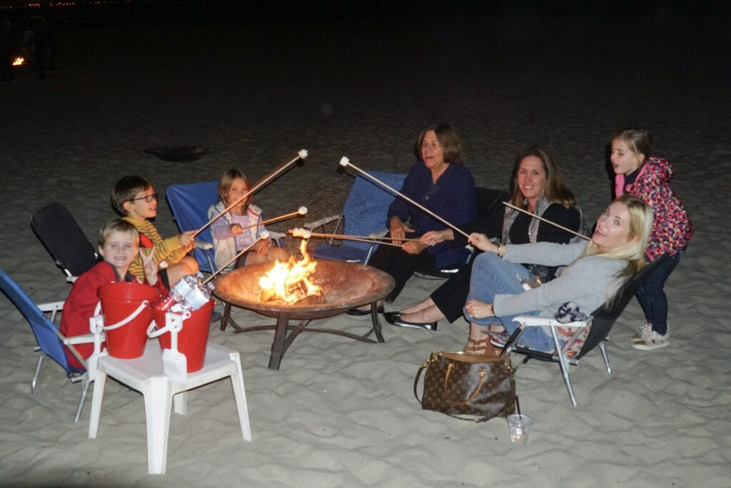 beach firepit and s'mores at the Hotel del Coronado