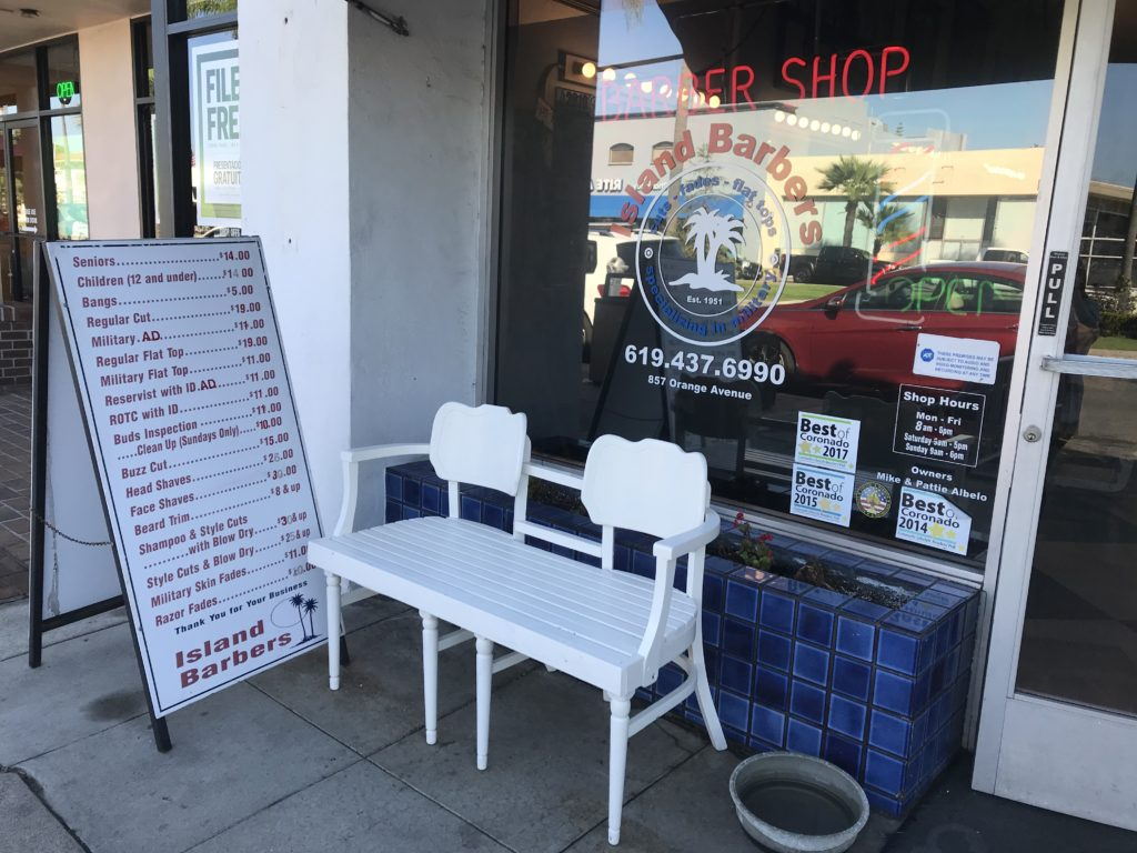 Coronado Vintage bench at Island Barbers