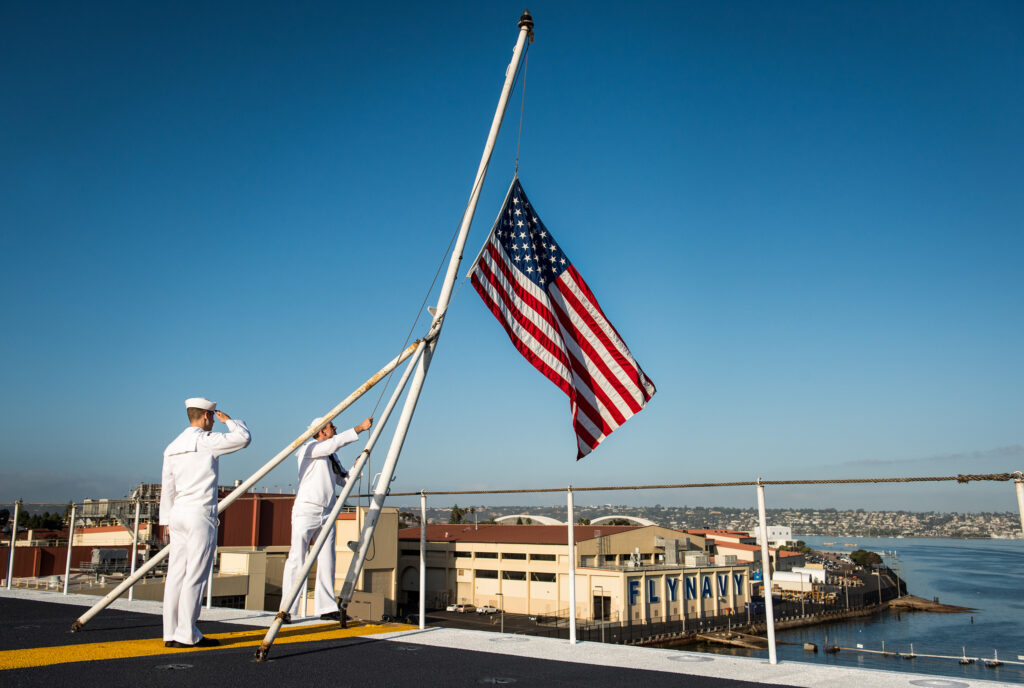 The Sound of Respect - Morning and Evening Colors On the Navy Base