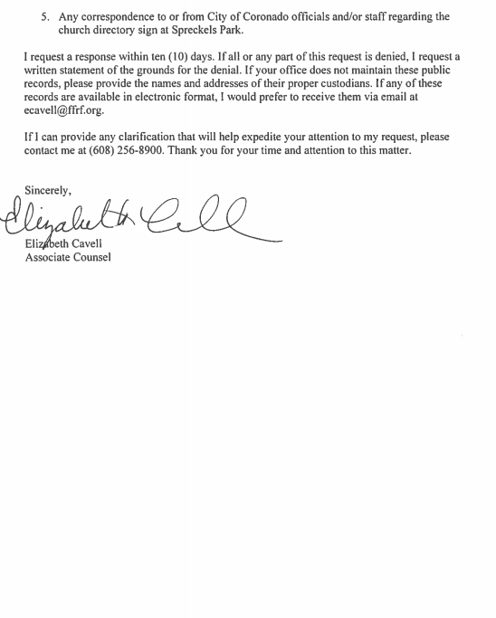 letter of explanation for large cash deposit ffrf request page 2 coronado times 28494
