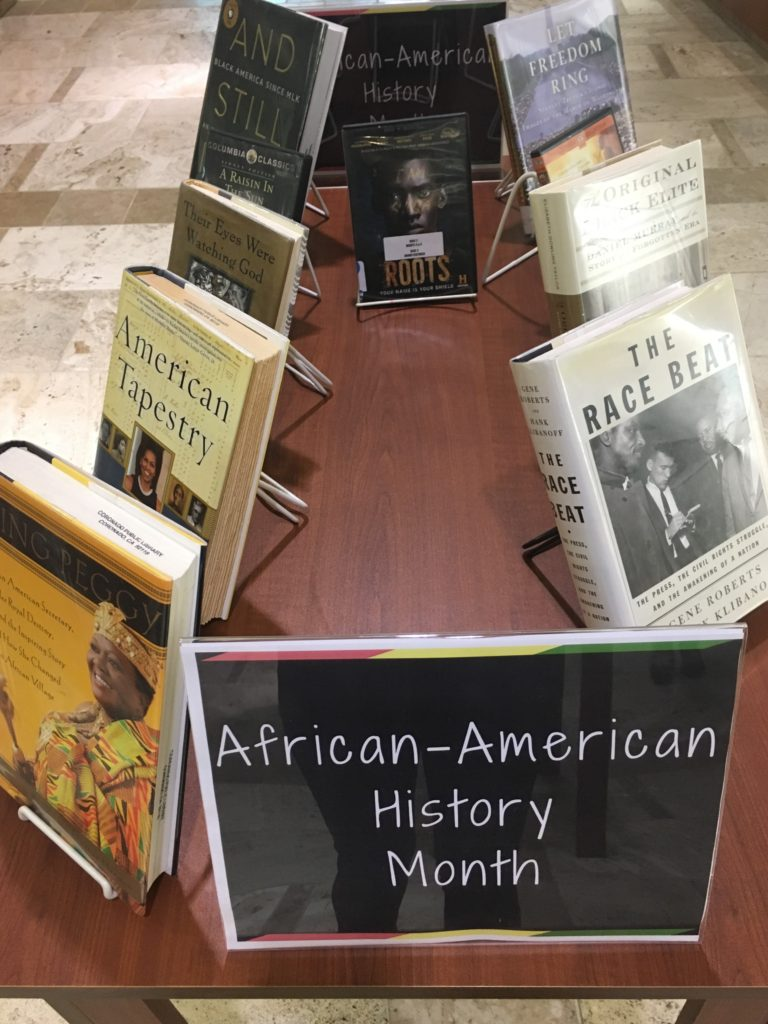 Black History Month table at the Library