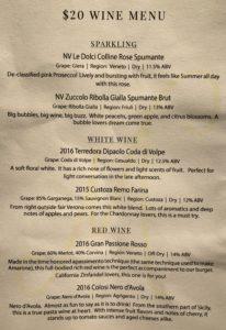 Maretalia $20 wine menu