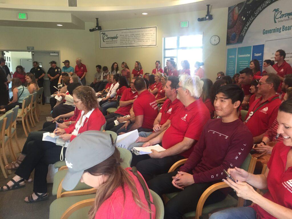Coronado teachers at School Board meeting