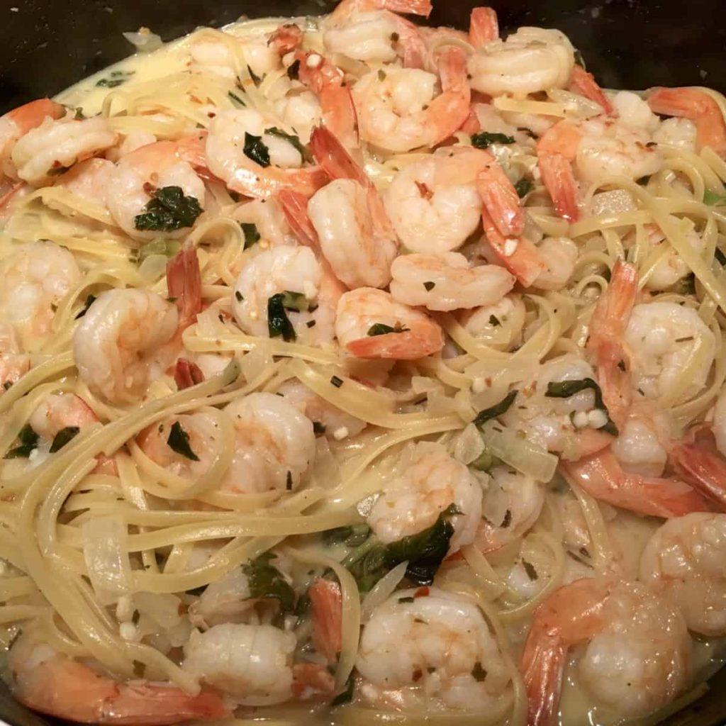 linguine, shrimp scampi, wine & goat cheese sauce