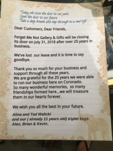Forget Me Not letter to customers