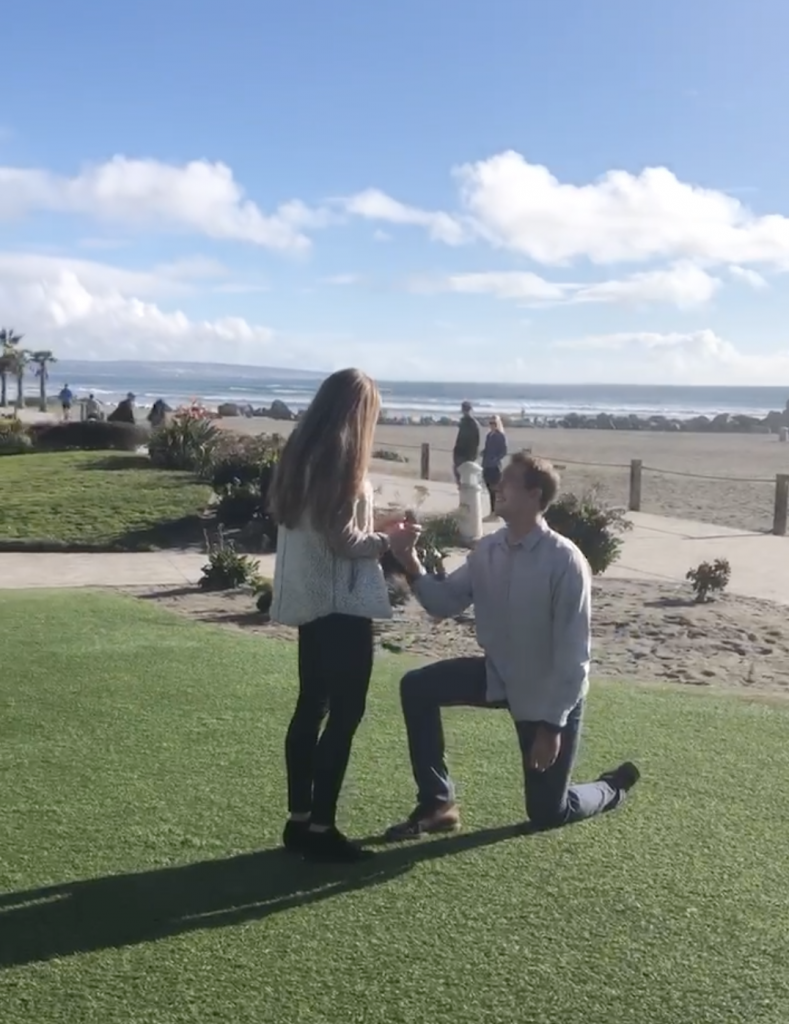 Lance Lerum proposes to Caty Harter, the great, great, great granddaughter of Hampton Story